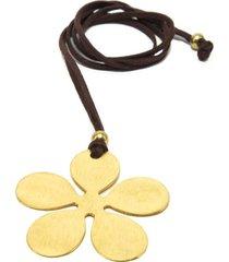 collar de mujer dorado fiore satinato brass colection by vestopazzo