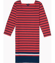 tommy hilfiger women's adaptive icon stripe dress bleached red multi - xl