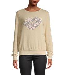 wildfox women's leopard-print lips sweatshirt - sand - size m