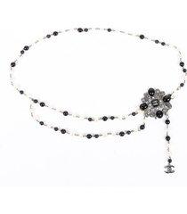 chanel black cream gripoix faux pearl cc chain belt black/cream/logo sz: