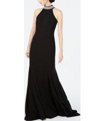 calvin klein embellished halter-neck gown