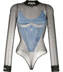 heron preston denim panel mesh bodysuit - black
