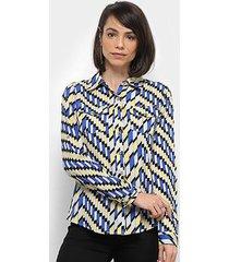 camisa extin manga longa estampa geométrica feminina
