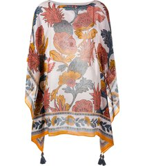 tory burch floral print kaftan top - orange
