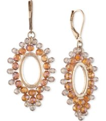 lonna & lilly gold-tone open oval beaded drop earrings