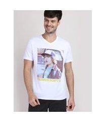 camiseta masculina stranger things manga curta gola v branca