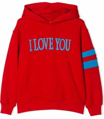 alberta ferretti red cotton i love you hoodie