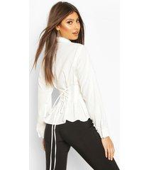 cotton ruched waist shirt, ivory