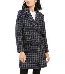 marc new york double-breasted plaid tweed coat