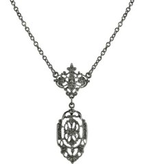 "downton abbey black-tone belle epoch filigree drop pendant necklace 16"" adjustable"