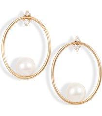 women's mizuki small oval frontal hoop earrings