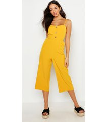 button front wide leg culotte jumpsuit, mustard