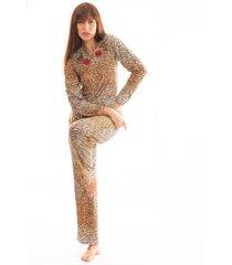 pijama thais gusmão longo com corda leopardo bege