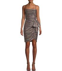 rebecca vallance women's bellagio metallic draped mini dress - pink metallic stripe - size 0