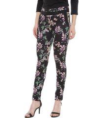 pantalón bunnys flores negro - calce ajustado