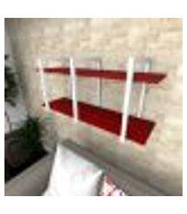 prateleira industrial para sala aço preto prateleiras 30 cm vermelho escuro modelo indb23vrsl