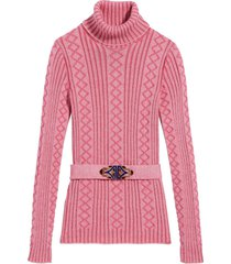 marc jacobs belted ribbed-knit jumper - pink