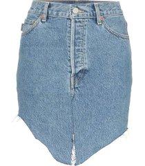 high-waisted asymmetric denim skirt