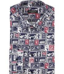 eterna modern fit shirt londen print donkerblauw