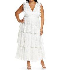 plus size women's lulus molinetto lace ruffle tiered dress, size 1x - white