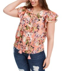 inc plus size cotton lace-up flutter top, created for macy's