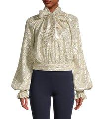 reem acra women's tie-neck metallic silk jacquard blouse - white gold - size 6