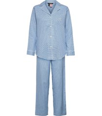 lrl notch collar long pant pj set pyjama blauw lauren ralph lauren homewear