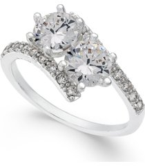 charter club silver-tone cubic zirconia 2-stone ring, created for macy's