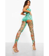 marmerprint leggings met veters