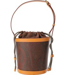etro designer handbags, paisley print coated canvas bucket bag