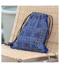 cotton drawstring backpack, 'indigo maze' (thailand)