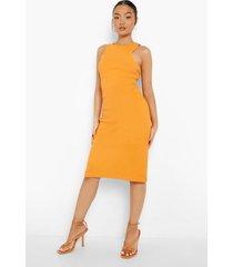 petite zware geribbelde bodycon midi jurk met racer hals, orange