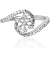 0.25ct diamond 925 silver frozen snowflake promise christmas wedding ring