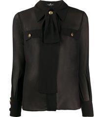elisabetta franchi sheer tailored blouse - black