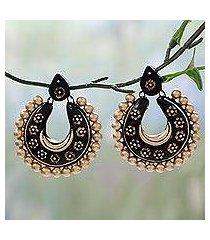 ceramic dangle earrings, 'golden gala' (india)