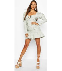 ruched sweetheart volume sleeve mini dress, sage