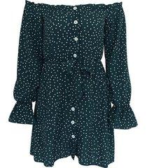 vestido de puntos color verde