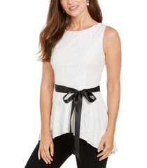 adrianna papell lace peplum top