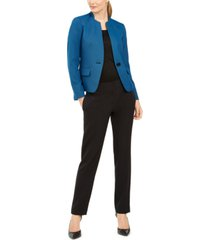 le suit one-button contrast-color pantsuit