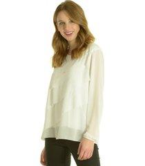 blusa pliegues blanco bou's