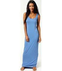 maxi jurk, denimblauw