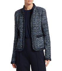 novelty ribbon tweed knit jacket
