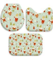 jogo tapetes para banheiro gnomos natalinos único