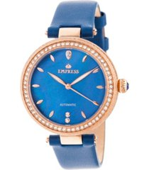 empress louise automatic blue leather watch 36mm
