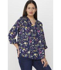 blusa cuello v pliegue navy print corona
