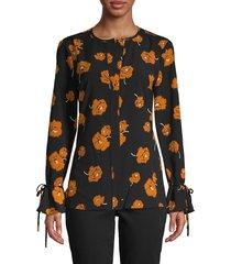 derek lam 10 crosby women's floral bell-cuff top - black multi - size 0