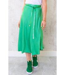 midi satijnen rok bright green