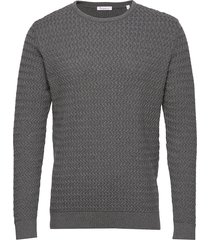 field o-neck structured knit - gots gebreide trui met ronde kraag grijs knowledge cotton apparel