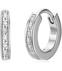 sterling silver skinny diamond huggie earrings diamond