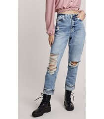 calça jeans feminina mom cintura alta cropped destroyed azul claro